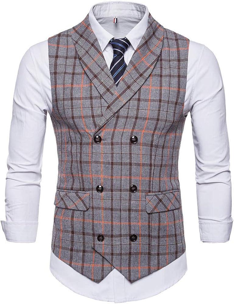 MODOQO Men's Waistcoat, Double-Breasted Slim Fit Skinny Formal Wedding Suit Vest