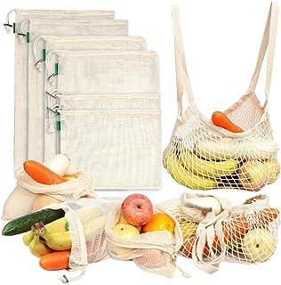 comprar comparacion AivaToba Verduras Sacos Producir Bolsas Malla Algodón Reutilizable Lavable Red Muselina Bolsas ecológicas con cordón para ...