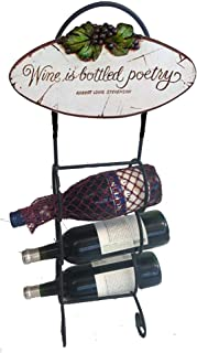 PIAZZA PISANO ART FOR HOME AND GIFTS AL PISANO Wine Bottle Holder with Wine is Bottled Poetry Sign