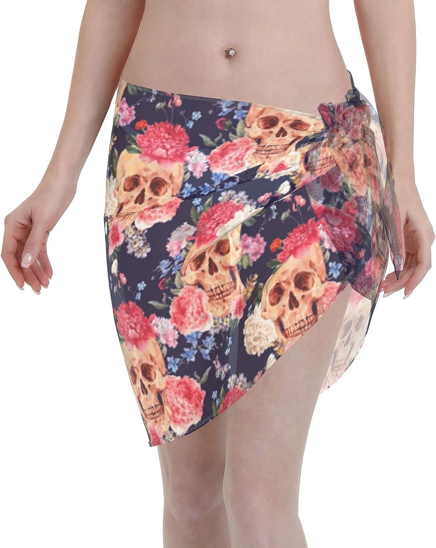 Skull Watercolor Flowers Horror Romantic Women Short Sarongs Beach Wrap Sheer Sexy Short Skirt Bikini Scarf Chiffon Cover Ups for Swimwear Black