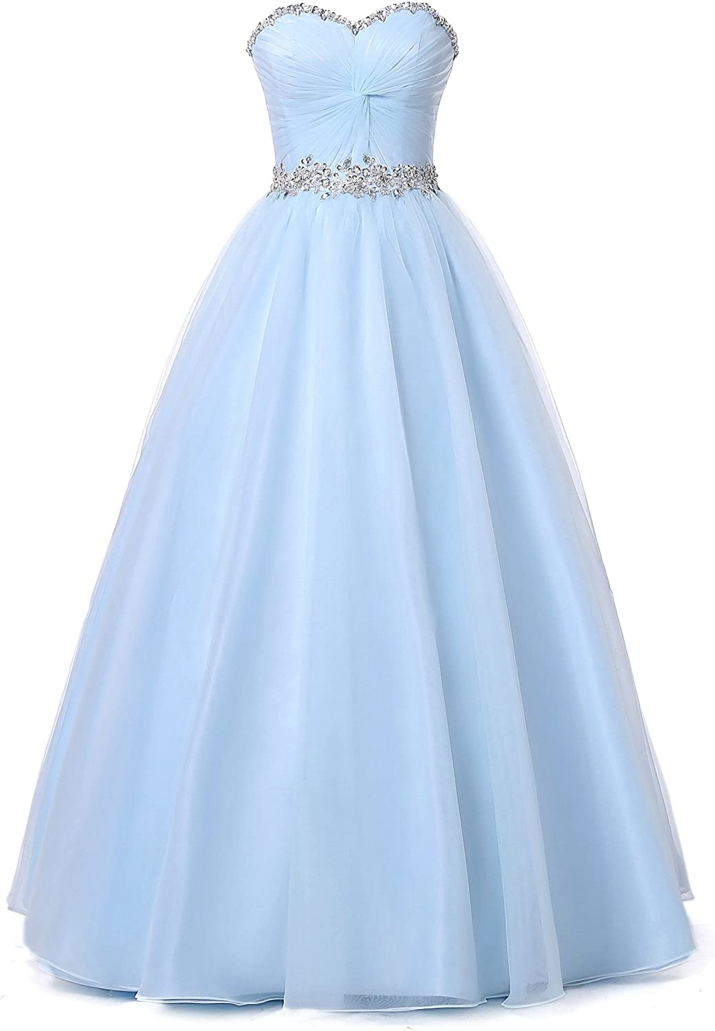 Alexzendra Tulle Long Prom Dress For Girls Beaded Sweetheart Party Gowns Light bluee