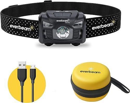 Everbeam H6 Pro LED Rechargeable Headlamp, Motion Sensor Control, 650 Lumen Bright 30 Hours Runtime 1200mAh Battery U...
