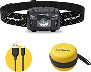 Everbeam H6 Pro LED Rechargeable Headlamp, Motion Sensor Control, 650 Lumen Bright 30 Hours Runtime 1200mAh Battery USB He...