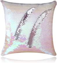 San Tungus Reversible Two-Color Sequin Decorative Pillow Case,16 x 16 inch Sequin Paillette Throw Mermaid Sequin Pillows Cushion Covers for Home Decor(Iridescent and Silver)