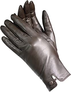 Isotoner A68423 Women's Silk Lined Lamb Leather Gloves Brown
