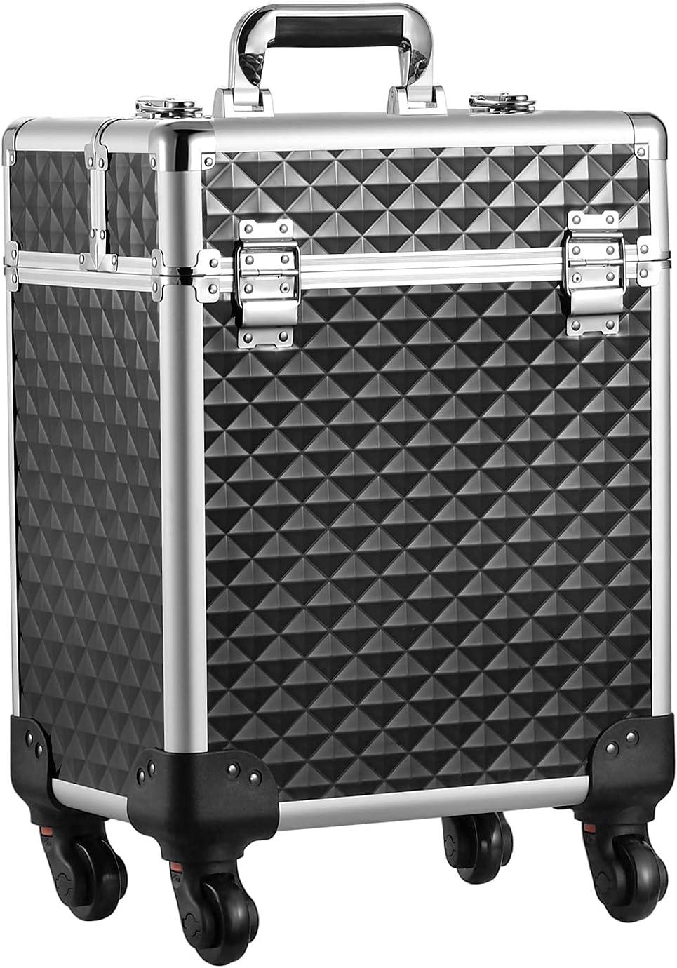 Mecucasi Rolling Makeup Train Case Aluminum Large Ranking TOP6 Alum Organized New Free Shipping