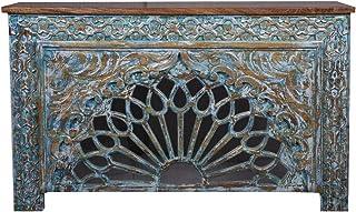Consola oriental estrecha Ghazal azul 150 cm | Mesa consola oriental vintage tallada a mano | Aparador rústico de madera m...