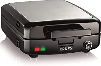 KRUPS Belgian Waffle Maker, Waffle Maker with Removable Plates, 4 Slices, Black and Silver (Renewed)