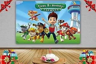 MC Customized Cartoon Paw Patrol Theme Photography Backdrops Baby Shower Kids Happy Birthday Party Decotation Photo Green Grass Background Studio Props Banner Vinyl 7x5ft