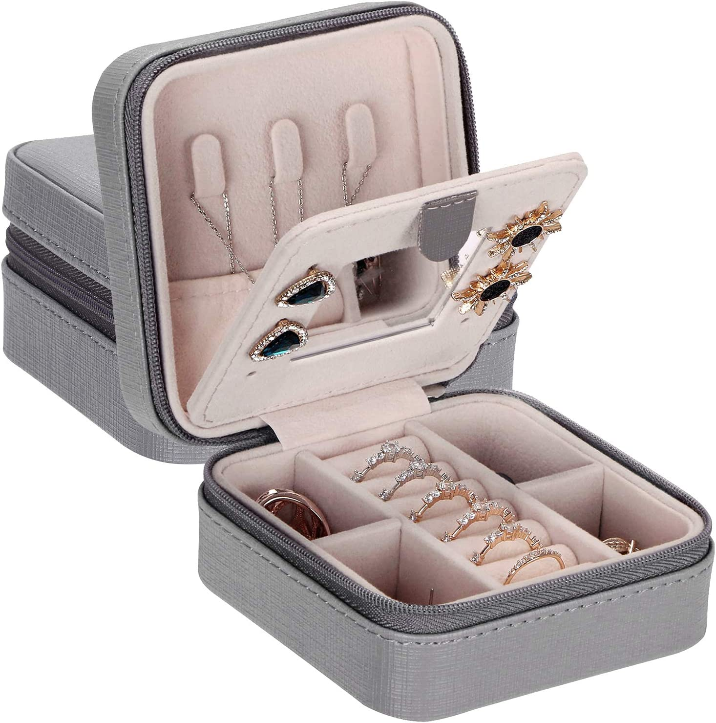 Portable Travel Jewelry Box Organizer Case w// Mirror for Rings Earrings Storage