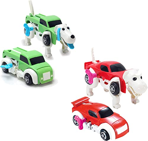 Transforming Toy Cars Automatic Deformation Dog Transformation Animal Robot Toys Car Transform Vehicles Playsets Clockwork Toy Gift for Kids Toddlers Boys, Pack of 2