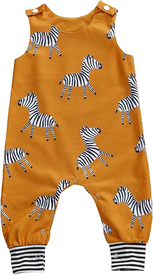 Neugeborenes Kind Baby Boy Mädchen drucken ärmellosen Strampler Tierdruck Knopf Verschluss Overalls Sommerkleidung