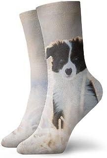 OUYouDeFangA, Animal Blanco Negro Perro Adulto Calcetines de Algodón Divertido Calcetines Cortos Para Yoga Senderismo Ciclismo Correr Fútbol