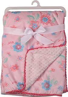 Laura Ashley Girls Floral Printed Mink Blanket with Pom Pom Edge, Pink