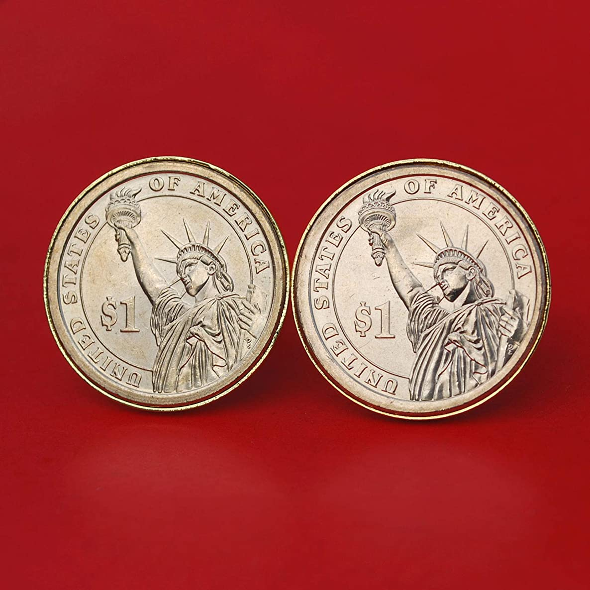 US 2000 ~ Current Year Presidential Dollar BU Uncirculated Coin Gold Plated Cufflinks NEW - the Statue of Liberty
