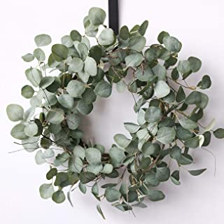 idyllic Eucalyptus Leaves Wreath Metal Polyester Fabric Paper Round Green Wreath 16 Inches for The Front Door D/écor 1 Pack