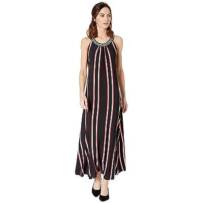 Calvin Klein Maxi Dress with Neck Detail (Black/Watermelon) Women