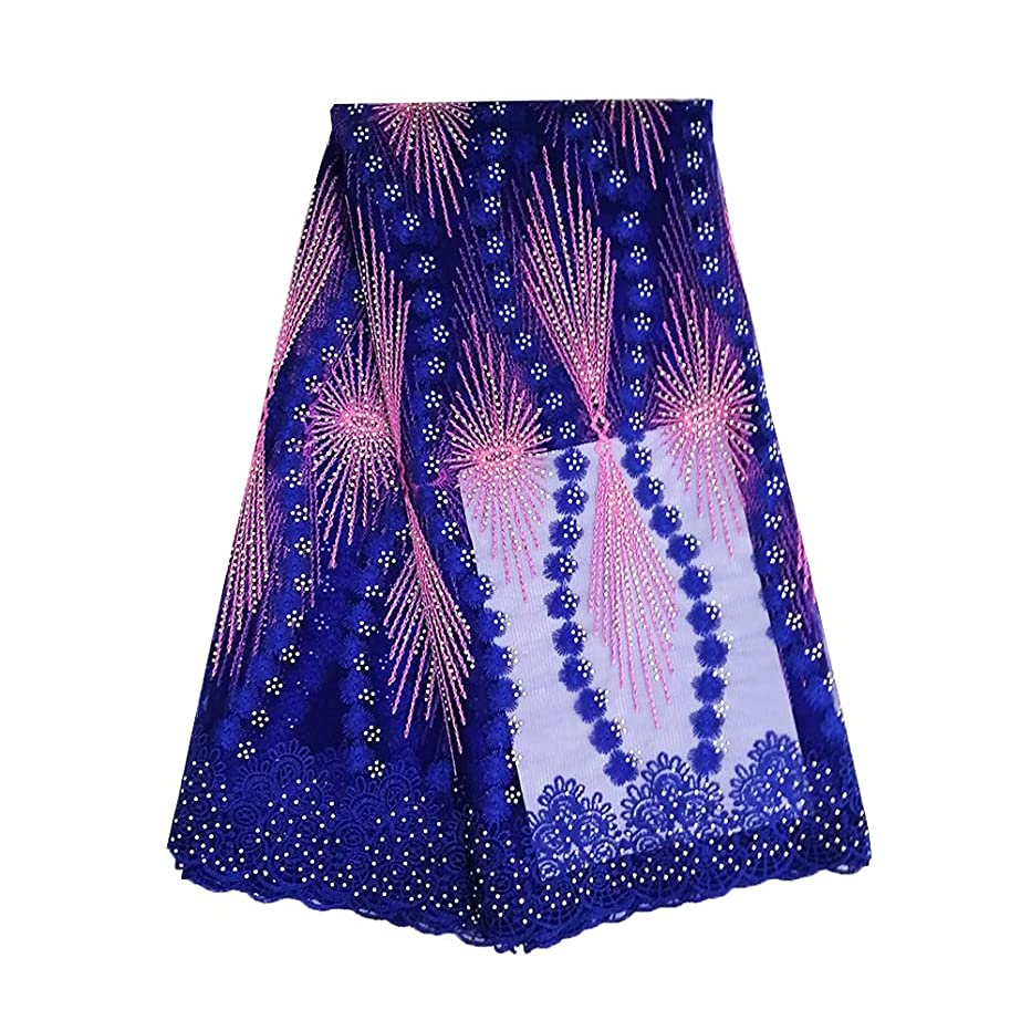 pqdaysun African Lace Fabric 5 Yards Nigerian French Rhinestone Lace Net Fabric Embroidered Fabric for Wedding Party 2019 F50765 (Royal Blue, 5 Yards)