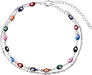 Double Chain Seven Colors Evil Eye Charm Bracelet Anklet for Women Girls,Boormanie Good Luck Amulet Kabbalah Greek Nazar Turkish Anklet