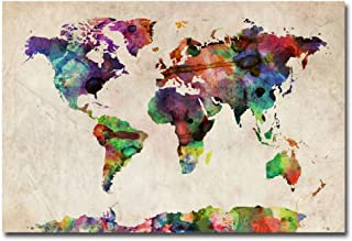 Urban Watercolor World Map by Michael Tompsett, 22x32-Inch Canvas Wall Art
