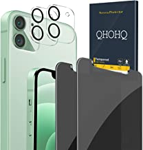 """QHOHQ 2 Pack Privacy Screen Protector for iPhone 12 5G [6.1""""] with 2 Packs Tempered Glass Camera Lens Protector,Anti-Spy T..."""