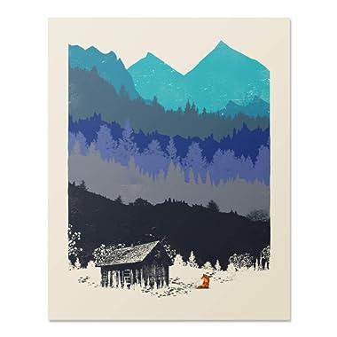 Wilderness Nature Art Print - Mountain Forest Fox Outdoor Landscape 8 x 10