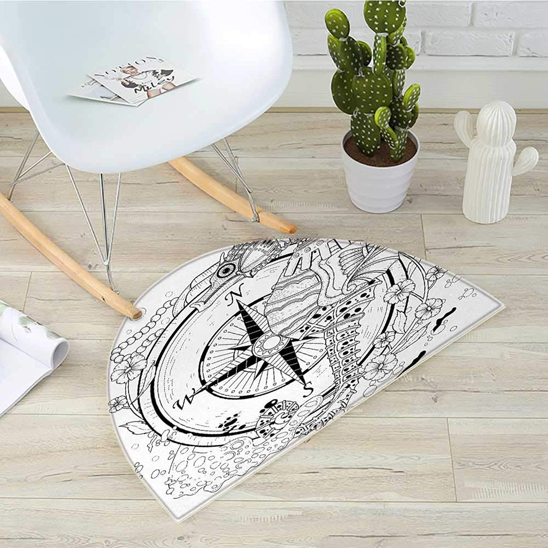 Compass Semicircle Doormat Giant Seashore All Over Compass in Exquisite Ornate Detailed Motifs Ocean Animal Halfmoon doormats H 39.3  xD 59  Black White