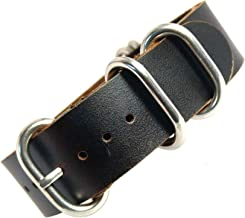 time+ 20mm 5-Ring NATO Zulu Oil Leather Military Watch Strap Dark Brown