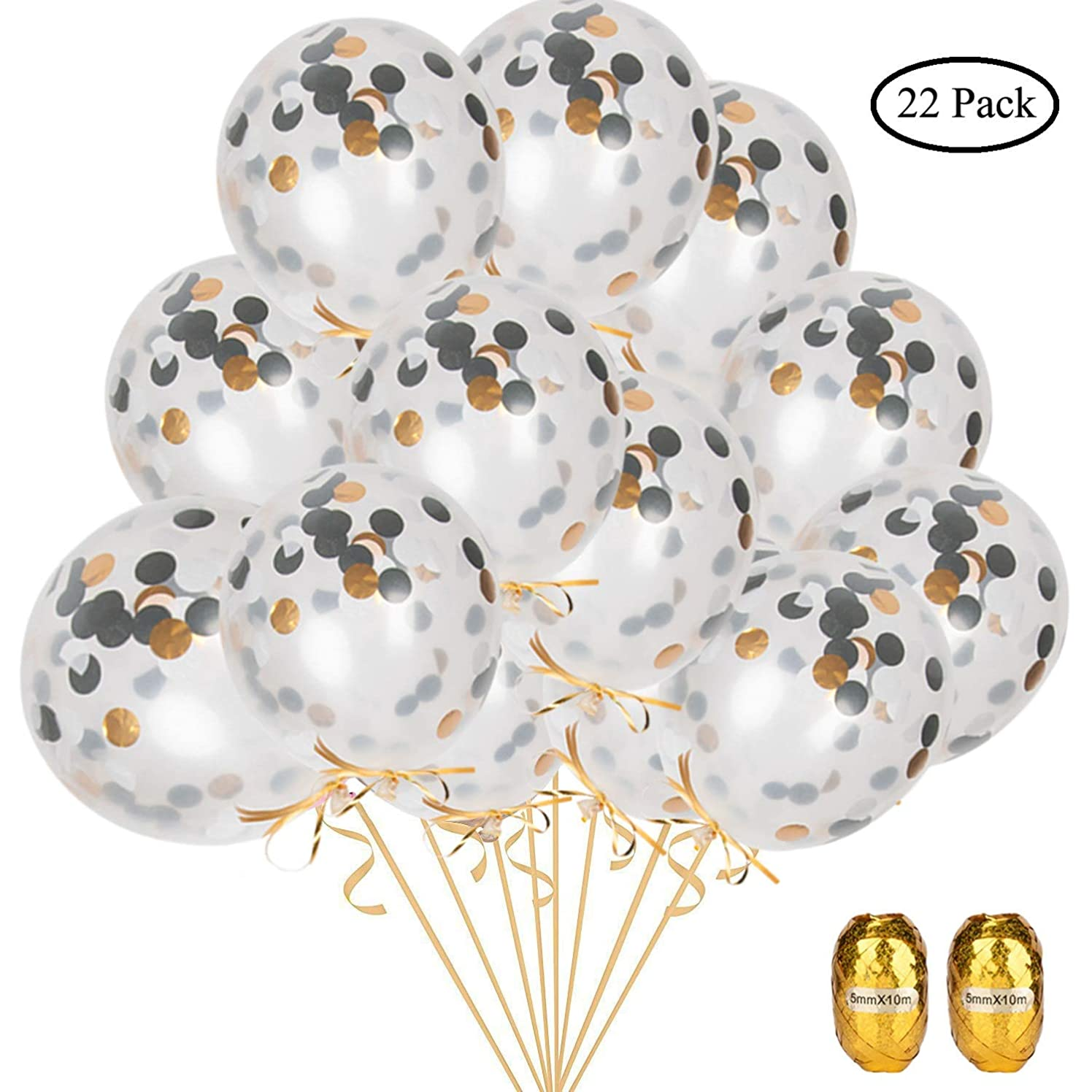 BTSD-home 12 Inch Black and Gold Confetti Balloons-20 Pack Latex Confetti Party Balloons with 2 Pieces Gold Ribbons for Wedding Birthday Confession Bridal Engagement Valentines Proposal Decorations