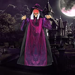 78.7 Inch Life Size Hanging Talking Witch Halloween Decorations, Animated Skeleton with Glowing Red LED Eyes and Voice Act...