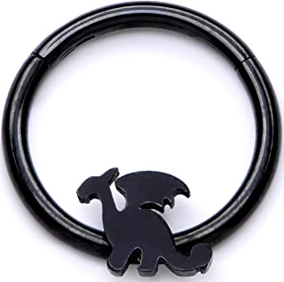 16G Black PVD Steel Hinged Segment Ring Seamless Cartilage Septum Ring Dragon Nose Hoops 3/8