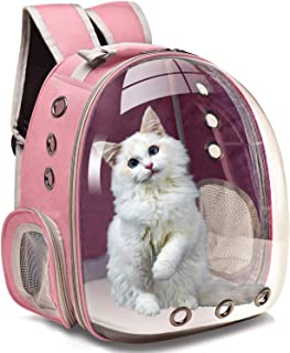 The DDS Store Pet Transparent Cat Carrier Backpack Puppy Kitty Breathable Carriers for Travel (Pink)