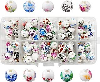 100 pieces Perle Ronde,Assortiment de Perles en Céramique,Assortiment de Perles en Céramique Couleur,perles en porcelaine ...