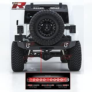 Razer Auto Rock Crawler Rear Bumper with Tire Carrier & Integrated Smoke Lens 3rd Brake LED Light bar, 2