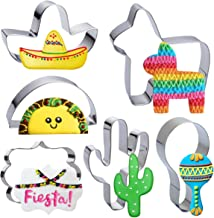 Heboland Fiesta Mexican Cookie Cutter Set - 6 Pieces 4in Large Donkey Pinata Cactus Sombrero Taco Maraca Plaque Stainless ...
