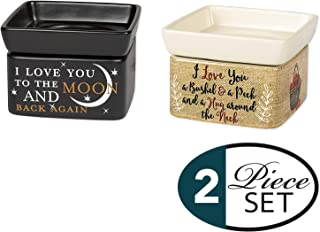 Elanze Designs 2 Pc Set Love You to The Moon and Back, Love You Bushel and a Peck Ceramic Stone 2-in-1 Tart Oil Wax Candle Warmers