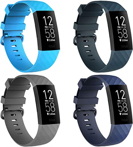 4 Pack Bands for Fitbit Charge 3/ Fitbit Charge 4/ Charge3 SE, Soft Waterproof Replacement Wristbands for Women Men S...