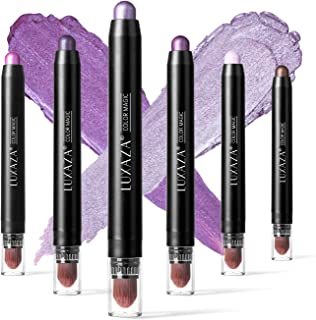 LUXAZA 6 PCS Purple Metallic Eyeshadow Stick,Light to Dark Cream Shimmer Eyeshadow Pencil Crayon,Pro Waterproof & Long Las...