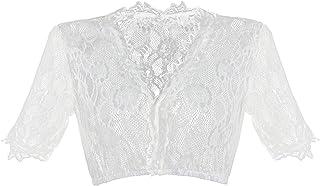 HBBMAGIC Dirndlbluse Damen Weiß Dirndl Bluse Spitze Trachtenbluse für Oktoberfest Größe 32-42