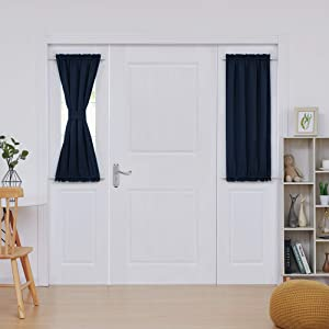 Deconovo Rod Pocket Door Panels - Thermal Insulated Blackout Curtains for Doors with Windows (25 Inch by 40 Inch, Navy Blue, 1 Panel)