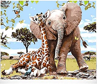 Oil Painting by Number for Adults Frameless DIY Art Craft for Kids Gift HandPainted Oil Drawing Colorful Animal Paints wit...