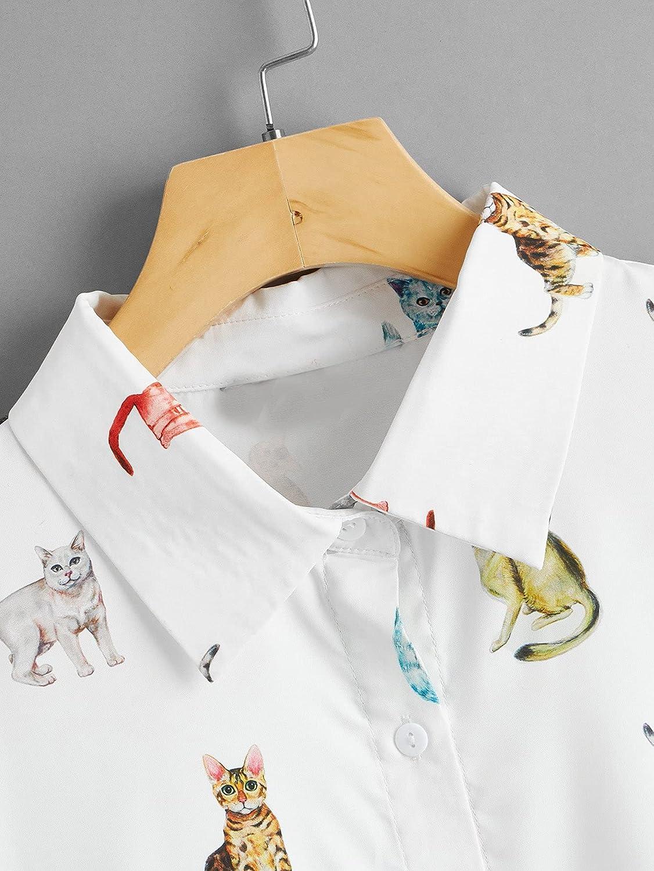 SOLY HUX Women's Figure Print Button Down Shirt Short Sleeve Crop Top Blouse