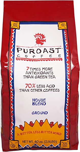 Puroast Low Acid Coffee House Blend Drip Grind 2 5 Pound Bag