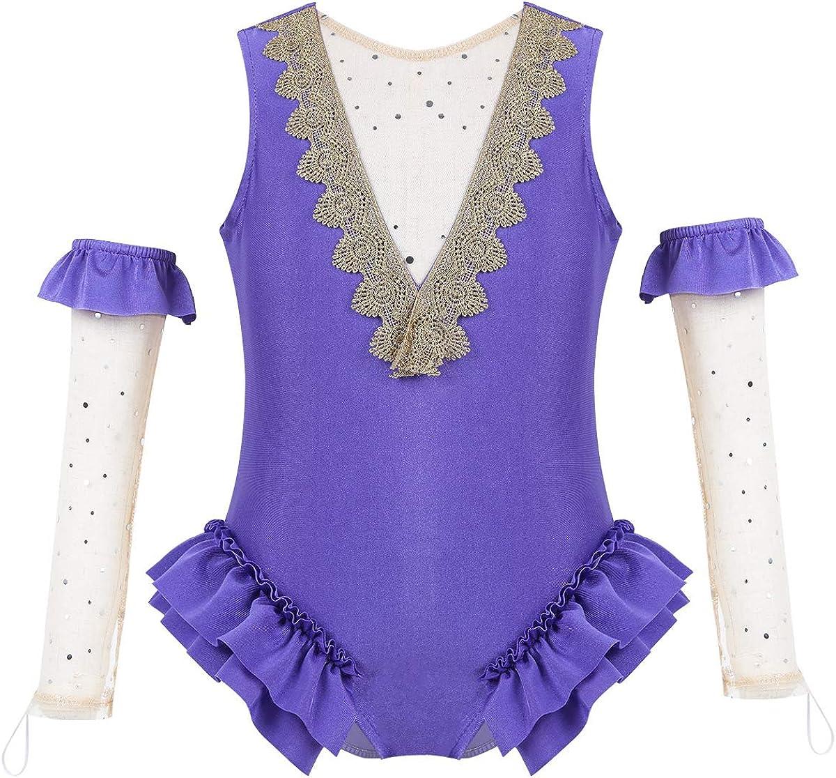 dPois Kids Girls' Dancing Costume Mesh Discount mail order excellence Leotard wit Splice Back V