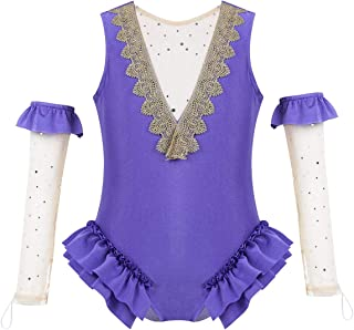 Baby Girls Circus Show Trapeze Costume V Neck Tank Leotard with Mesh Gloves Halloween Outfit