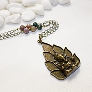 Long Ganesha Necklace Indian Agate Beaded Chain - One-of-a-kind Unique Spiritual Elephant Jewelry - Handmade in Phoenix, AZ