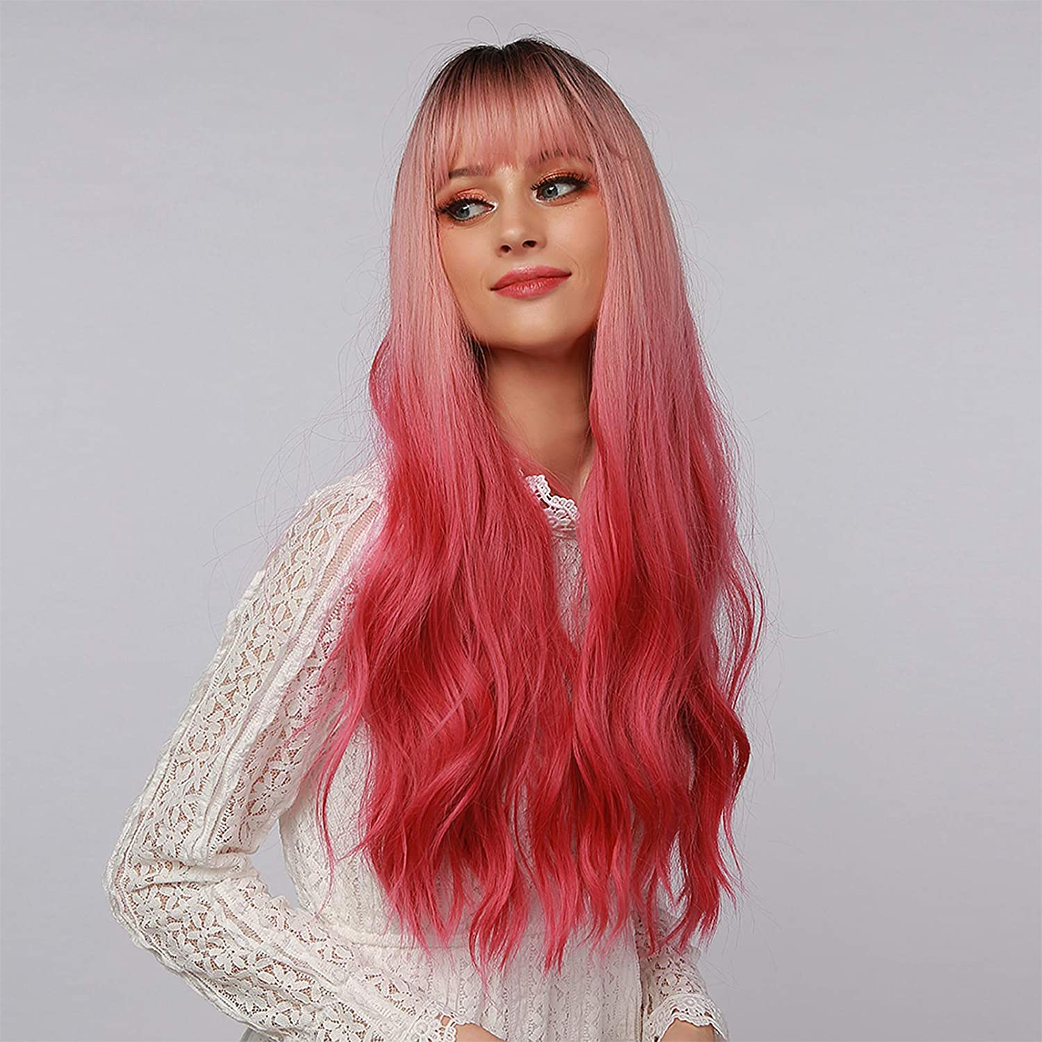 Long Red Wig for Women Natural S Max 70% OFF Virginia Beach Mall Wavy Bangs Ombre with
