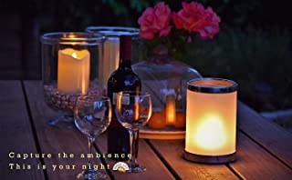 ABAMERICA LED Flame Table Lamp Flame Effect Table Light - Gift Package Rechargeable Modern Cracked Style Glass Table Lamp for Night Table, Party Decor, Hotel, Bar(Includes Timer & Remote)