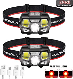 HOKOILN Rechargeable Headlamp, 2 Pack 500 Lumens COB Enhanced Headlamp Ultra Bright Cree LED Rechargeable Flashlight, Red Light and Motion Sensor, Waterproof, for Camping, Hiking, Outdoors