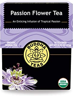 Organic Passion Flower Tea, 18 Bleach-Free Tea Bags – Caffeine Free Tea Relieves Anxiety and Insomnia, Eliminates Inflammation and Menopause Issues, Acts as an Antidepressant and Relaxant, No GMOs